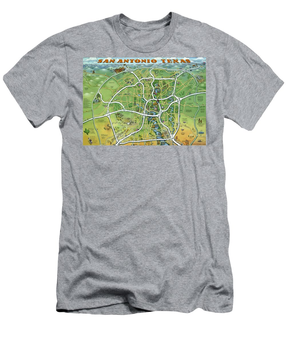 San Antonio Men's T-Shirt (Athletic Fit) featuring the painting San Antonio Texas Cartoon Map by Kevin Middleton