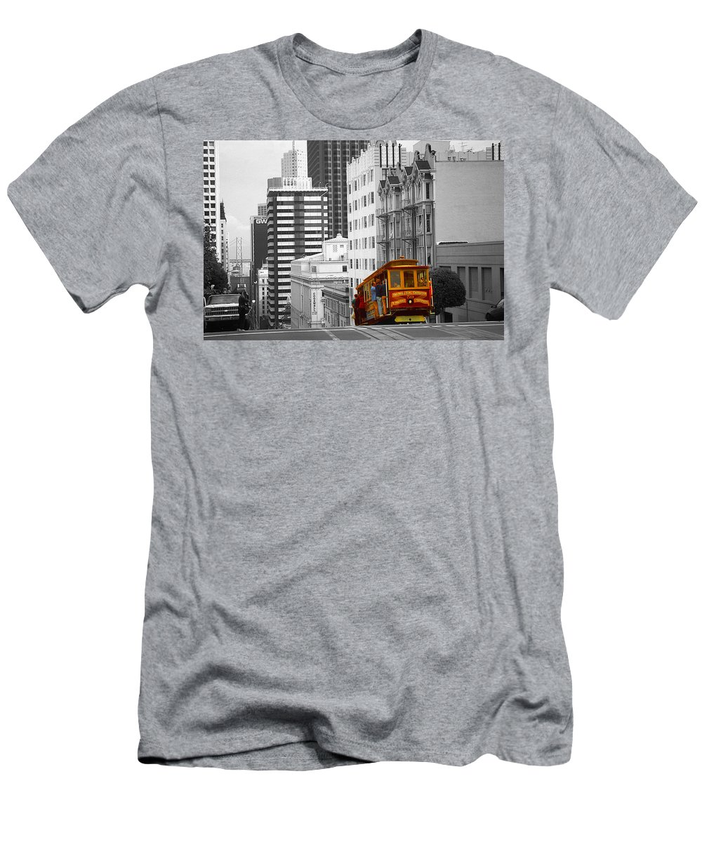 San+francisco Men's T-Shirt (Athletic Fit) featuring the photograph San Francisco - Red Cable Car by Peter Potter