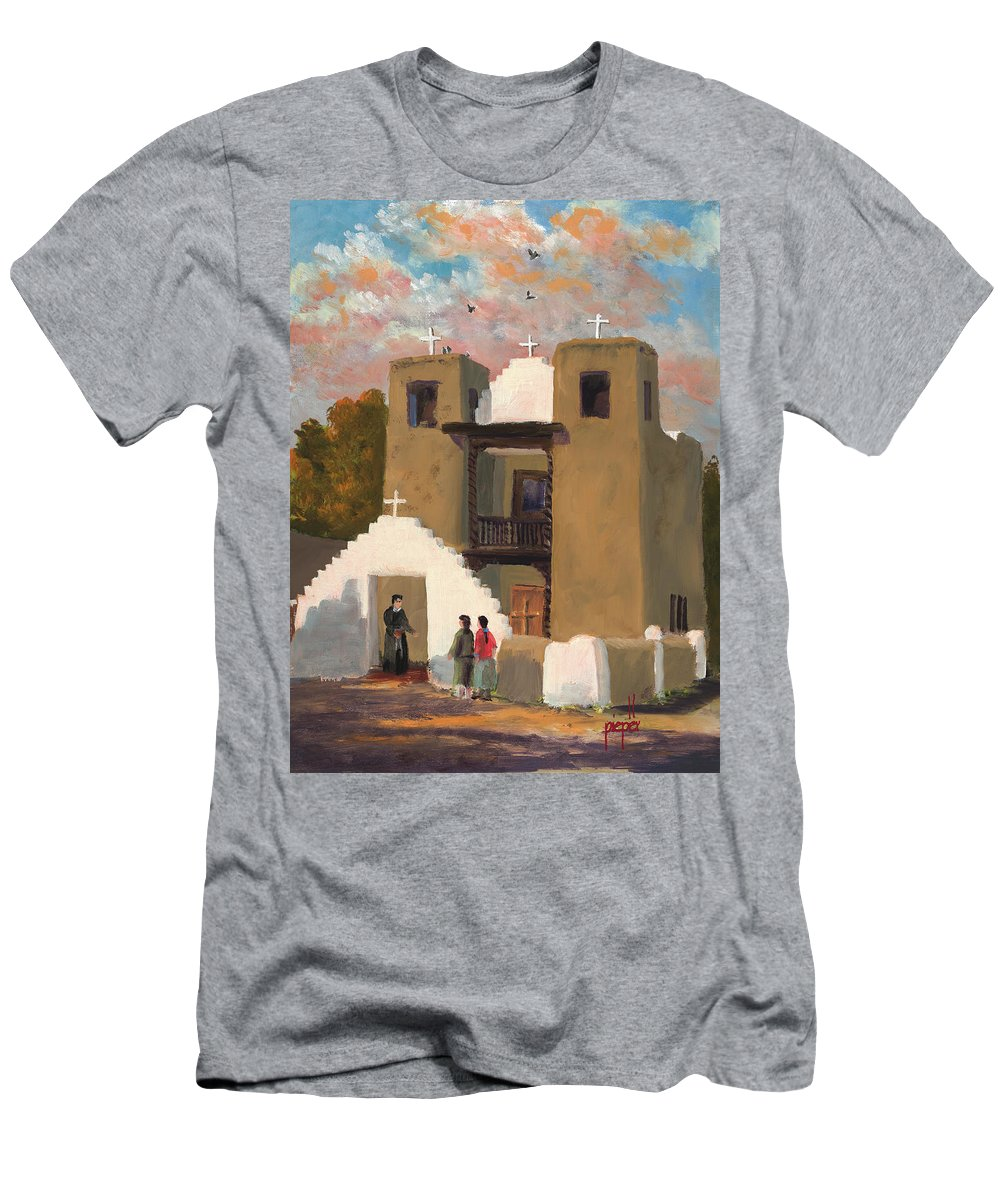 Taos Men's T-Shirt (Athletic Fit) featuring the painting San Geronimo De Taos Spanish Mission by Ken Pieper