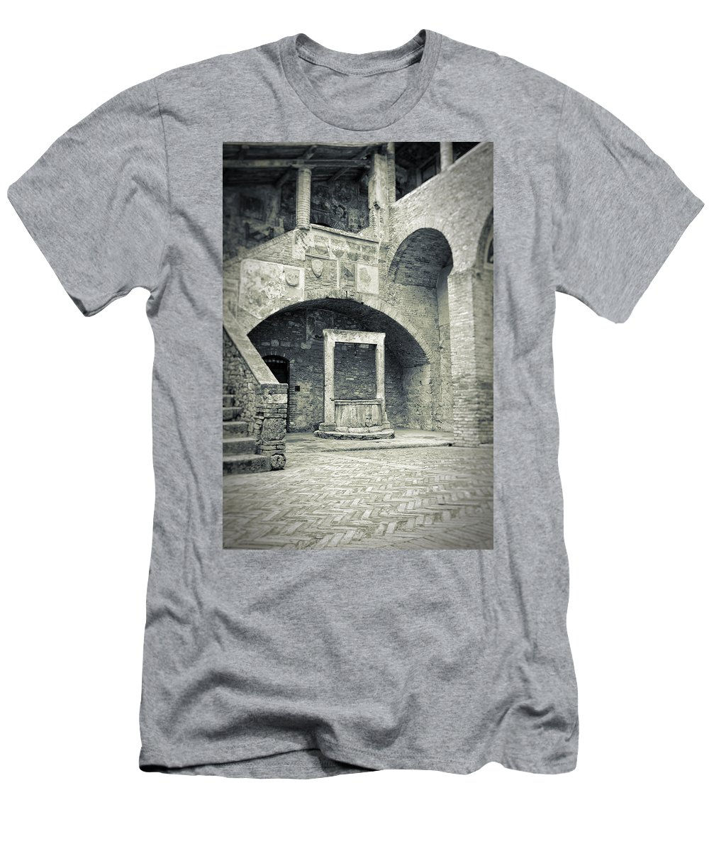 Ancient Men's T-Shirt (Athletic Fit) featuring the photograph San Gimignano - Medieval Well by Silvia Ganora