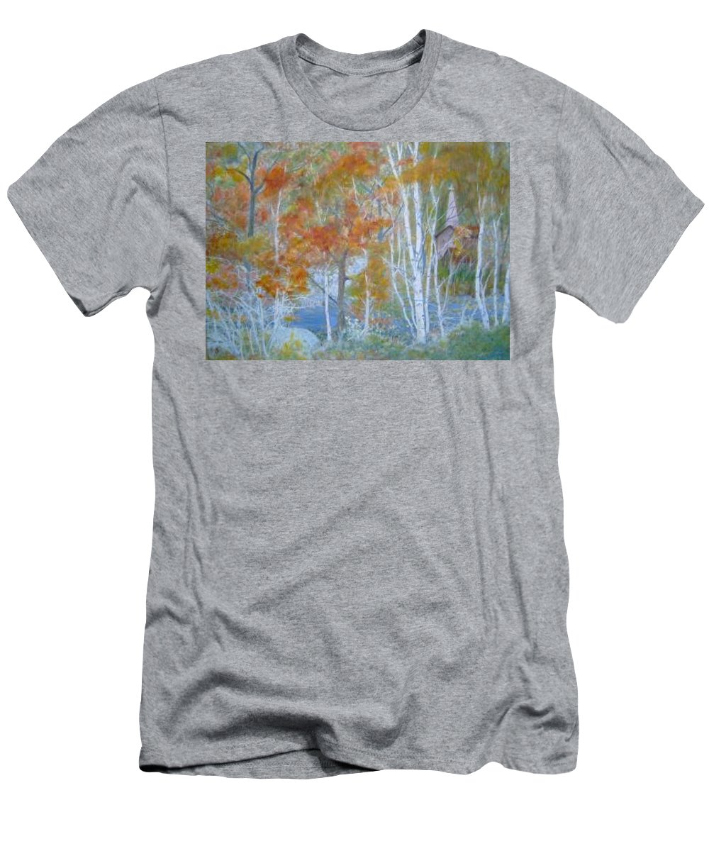 Church; Landscape; Birch Trees Men's T-Shirt (Athletic Fit) featuring the painting Sanctuary by Ben Kiger