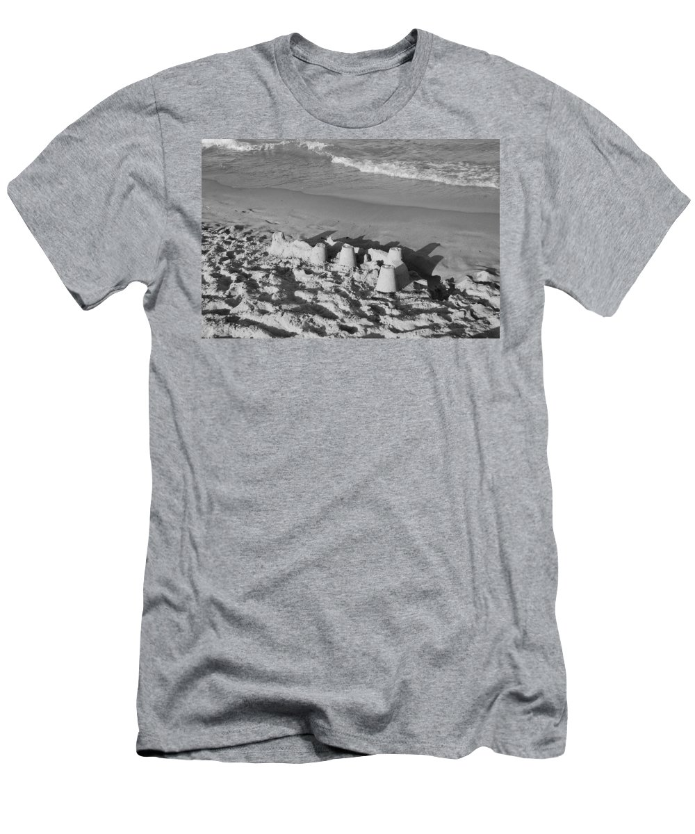 Sea Scape Men's T-Shirt (Athletic Fit) featuring the photograph Sand Castles By The Shore by Rob Hans