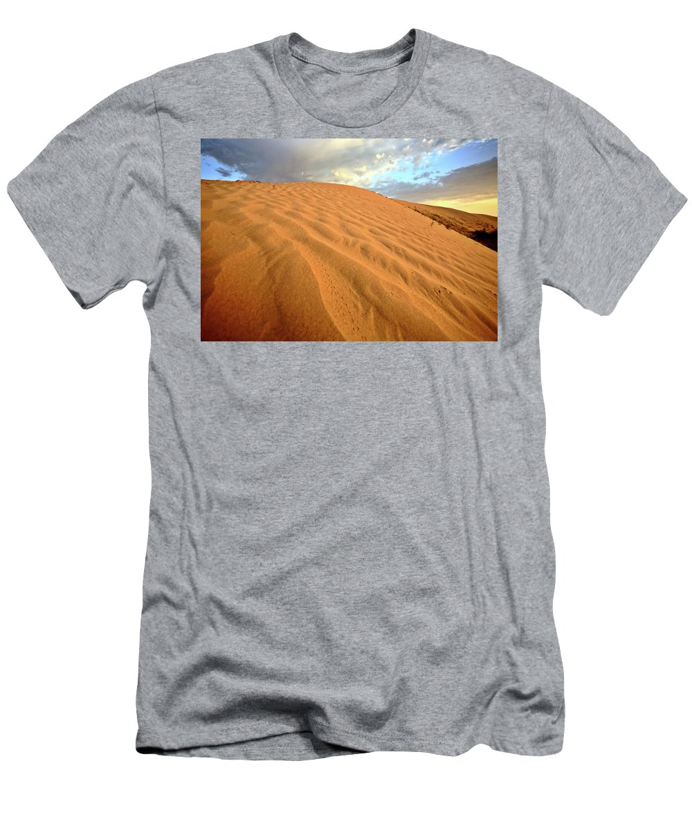 Sand Dune Men's T-Shirt (Athletic Fit) featuring the digital art Sand Dune At Great Sand Hills In Scenic Saskatchewan by Mark Duffy