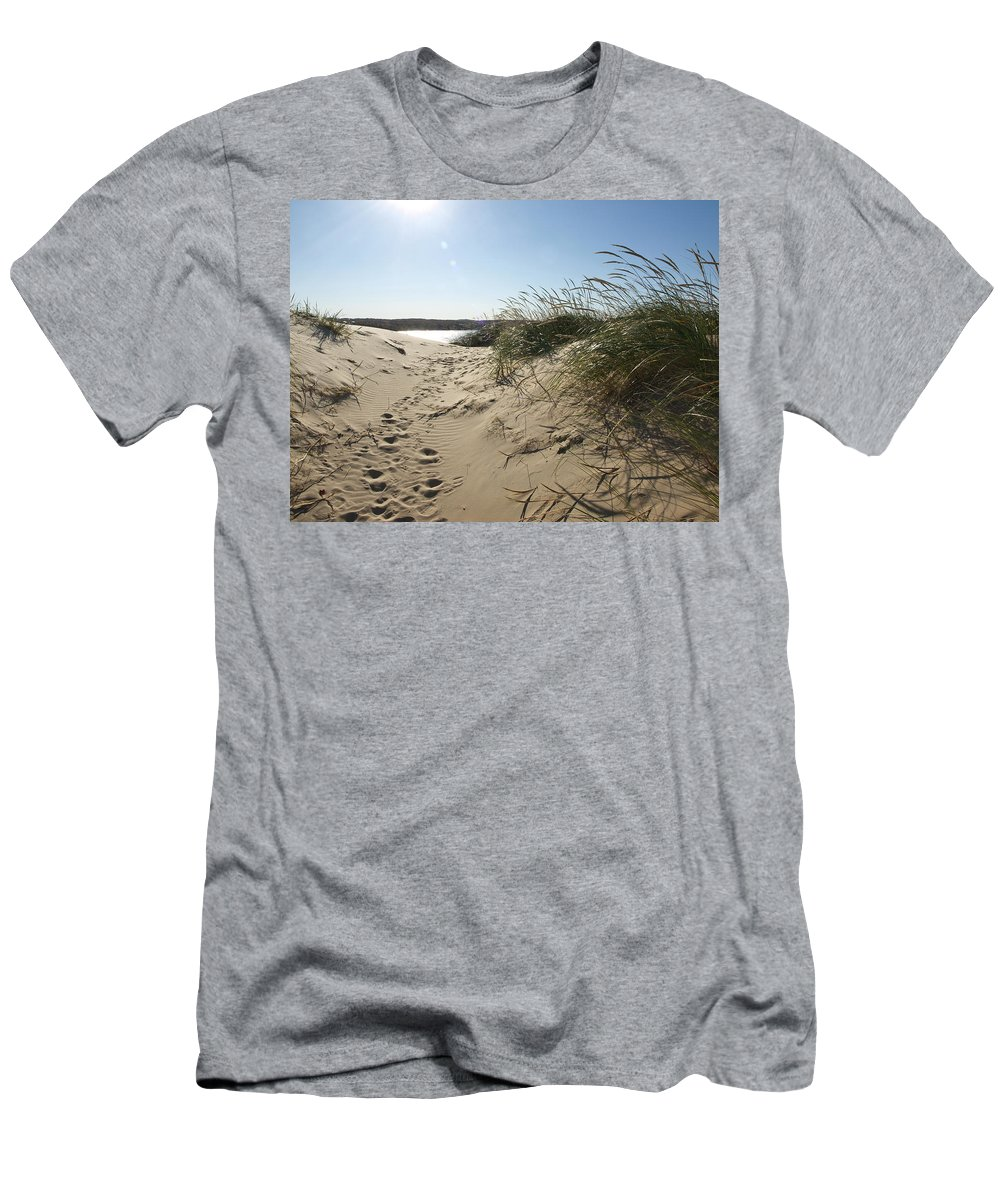 Sand Men's T-Shirt (Athletic Fit) featuring the photograph Sand Tracks by Tara Lynn