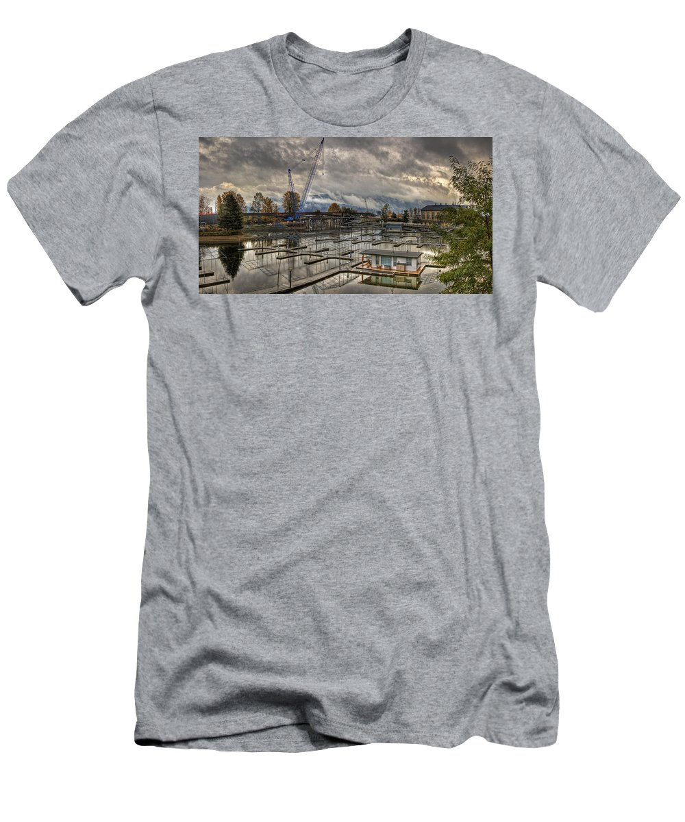 Men's T-Shirt (Athletic Fit) featuring the photograph Sandpoint Marina 2 by Lee Santa