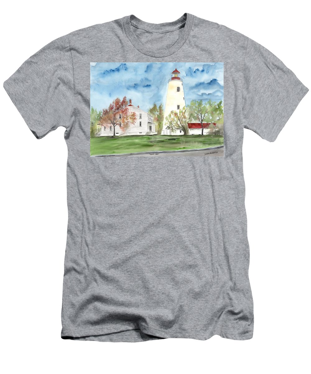Watercolor Men's T-Shirt (Athletic Fit) featuring the painting Sandy Hook Lighthouse by Derek Mccrea