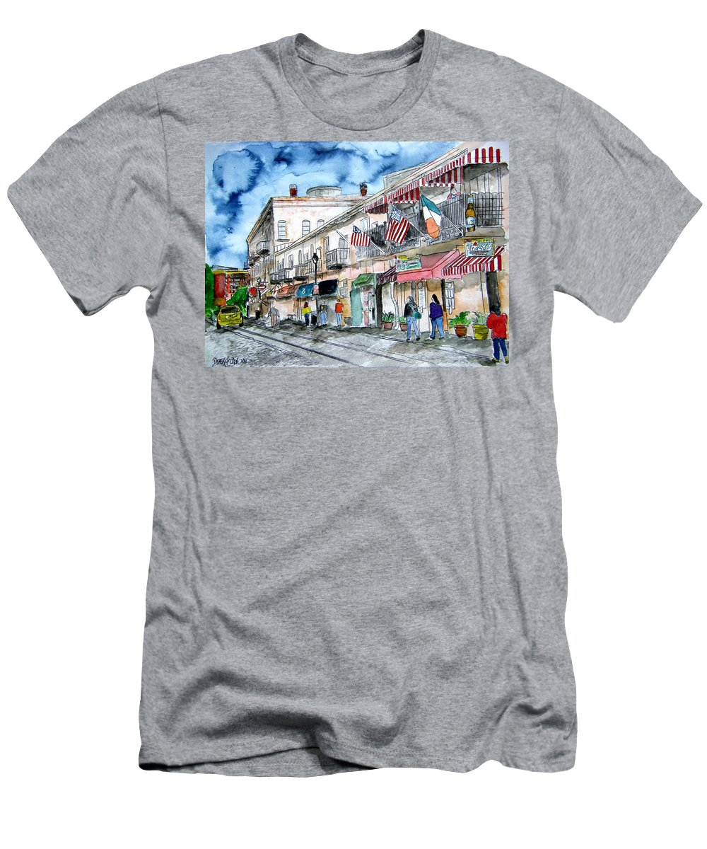 Pen And Ink T-Shirt featuring the painting Savannah Georgia River Street by Derek Mccrea