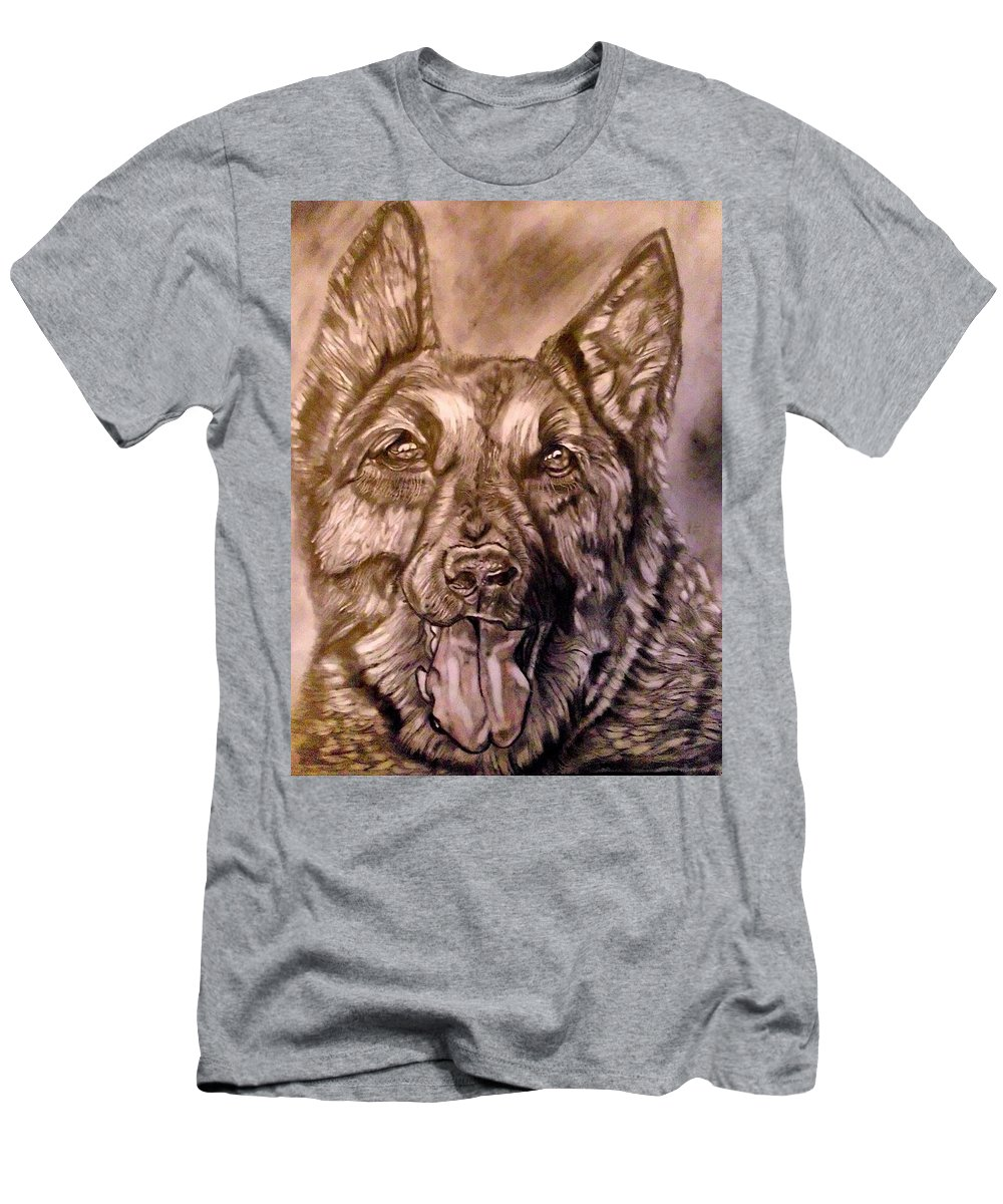 Dog Men's T-Shirt (Athletic Fit) featuring the drawing Say Ahh by Herbert Renard