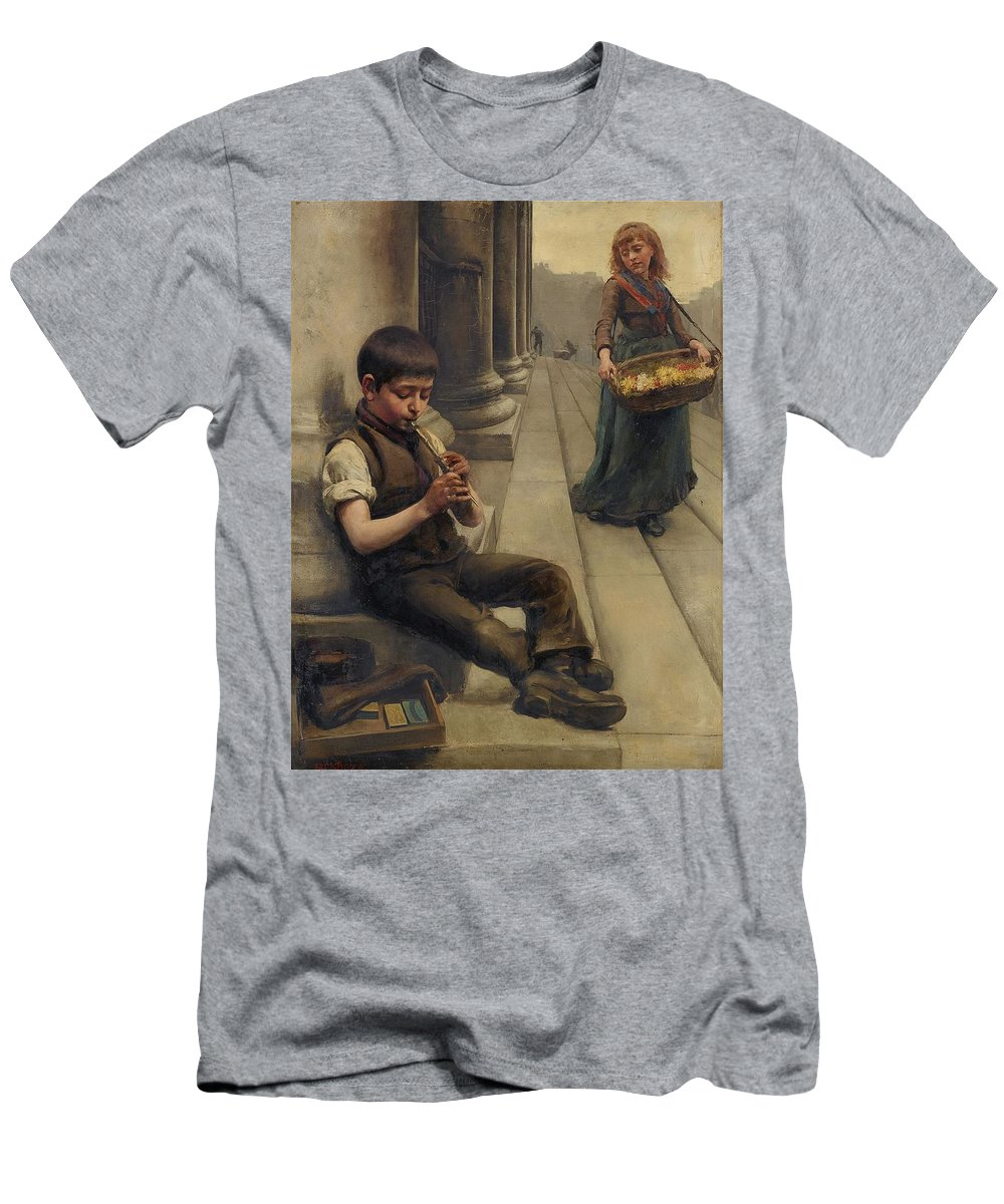 Mendoza Second Half Of 19th Century Scene From The Street Men's T-Shirt (Athletic Fit) featuring the painting Scene From The Street by MotionAge Designs