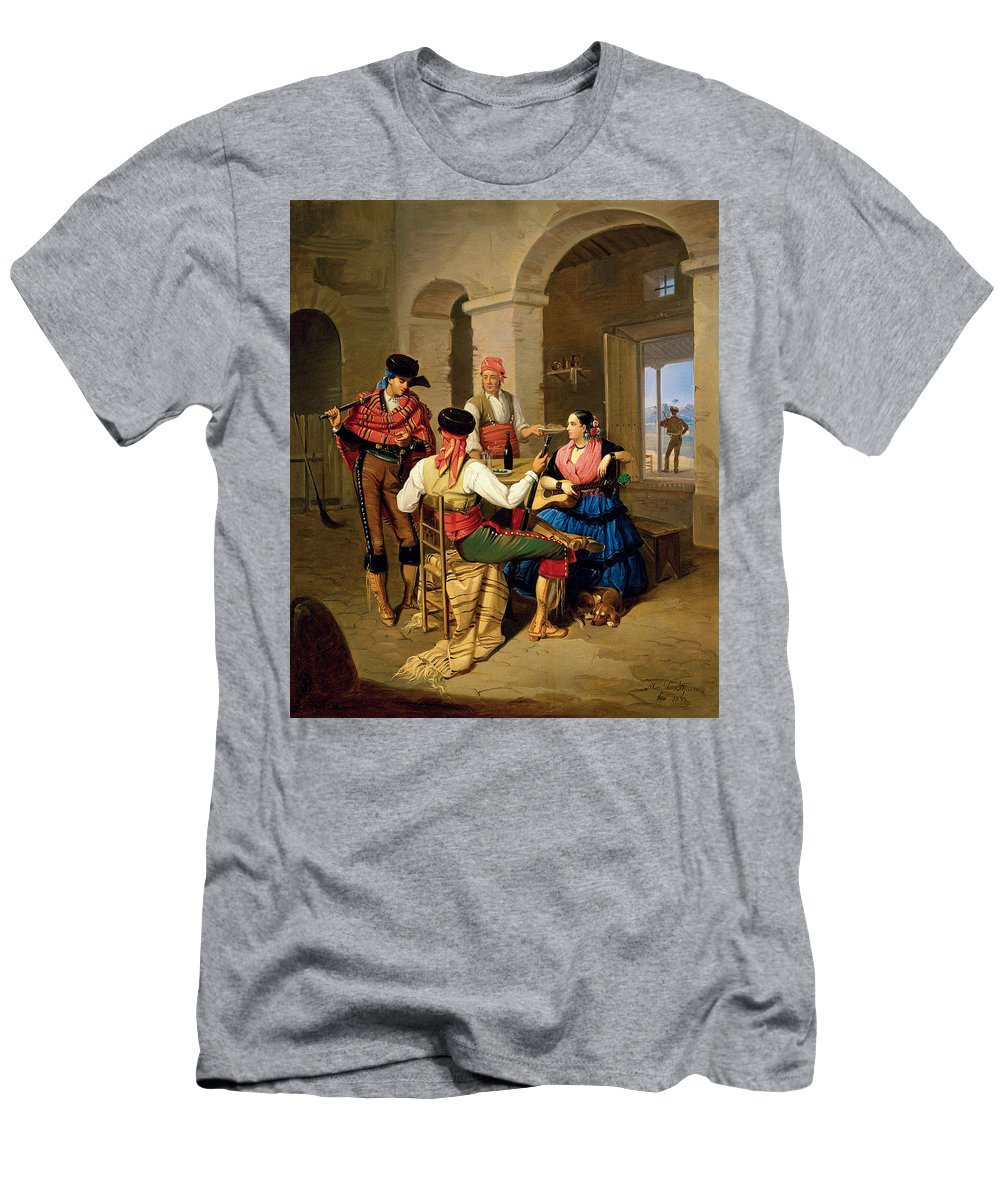 Manuel Cabral Aguado Bejarano Men's T-Shirt (Athletic Fit) featuring the painting Scene In A Country by Manuel Cabral