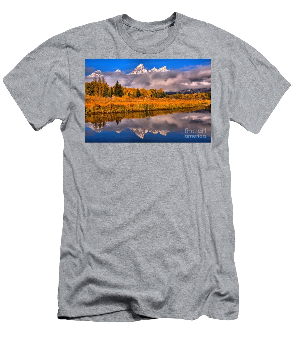 Gtnp Men's T-Shirt (Athletic Fit) featuring the photograph Schwabacher Fall Brilliance by Adam Jewell