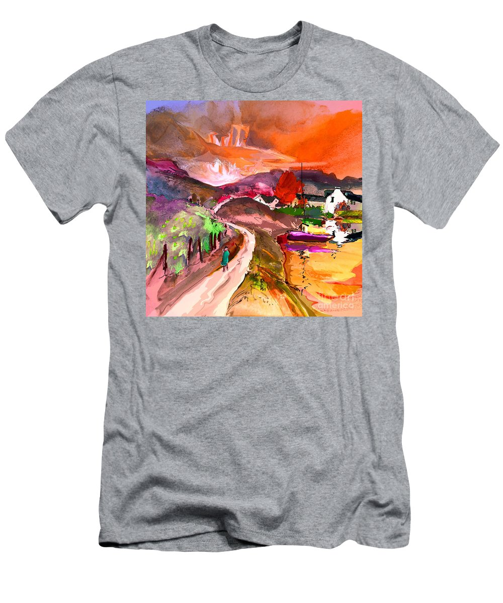 Scotland Paintings Men's T-Shirt (Athletic Fit) featuring the painting Scotland 02 by Miki De Goodaboom