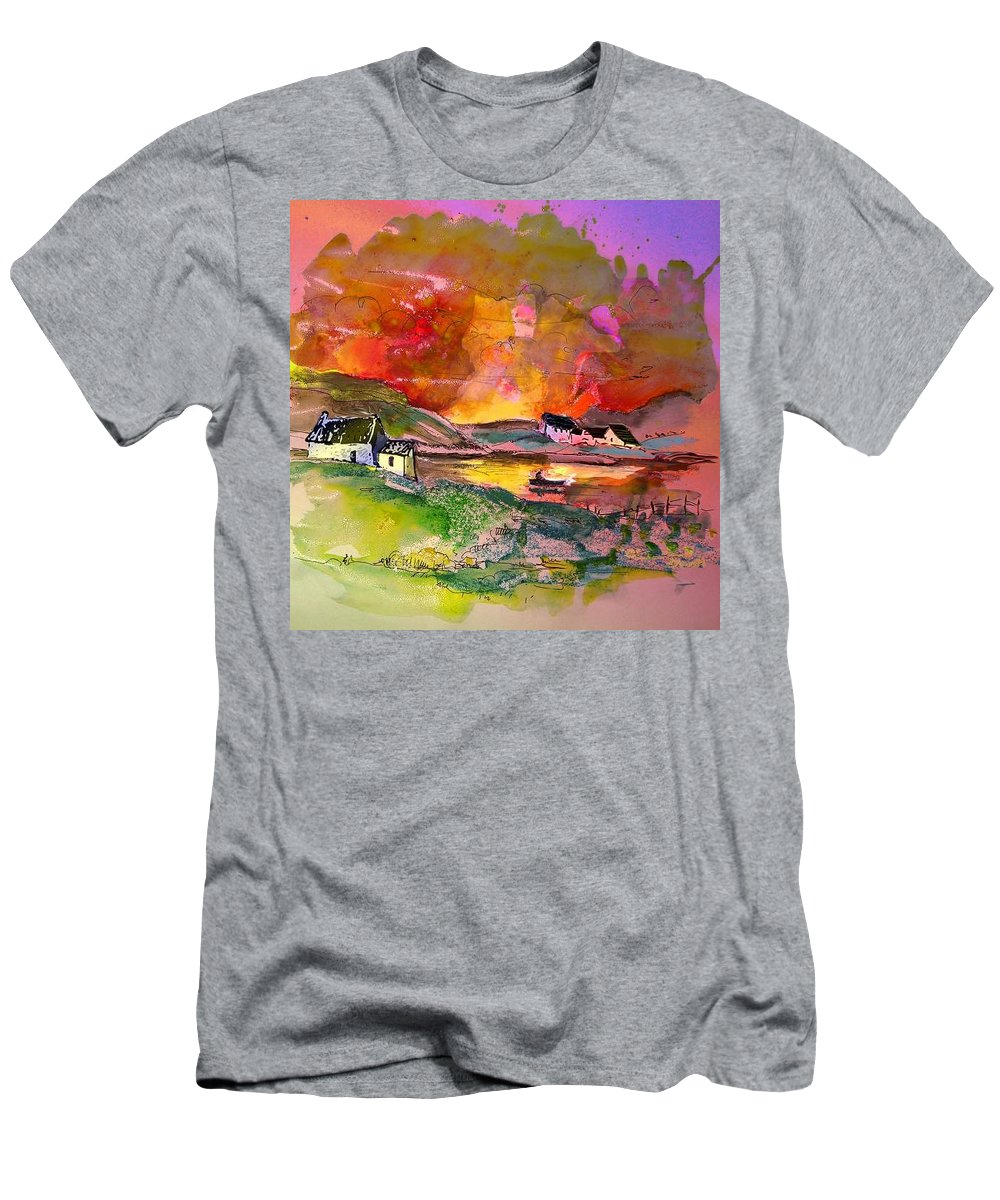Scotland Paintings Men's T-Shirt (Athletic Fit) featuring the painting Scotland 07 by Miki De Goodaboom