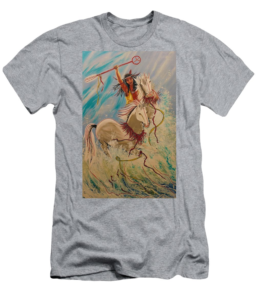 Horses Men's T-Shirt (Athletic Fit) featuring the painting Scream Of Peace by V Boge