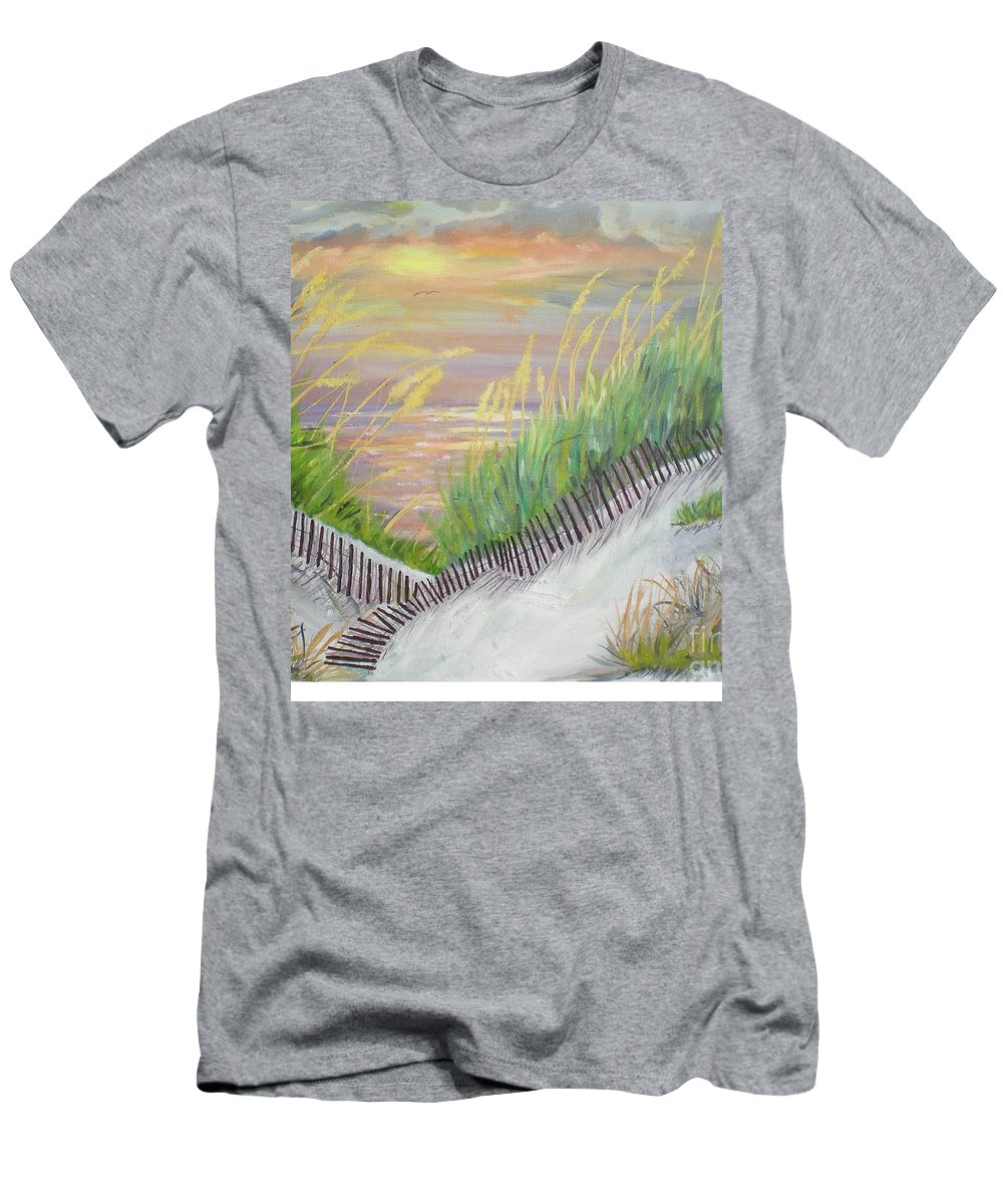 Seascape Men's T-Shirt (Athletic Fit) featuring the painting Sea Oats by Hal Newhouser