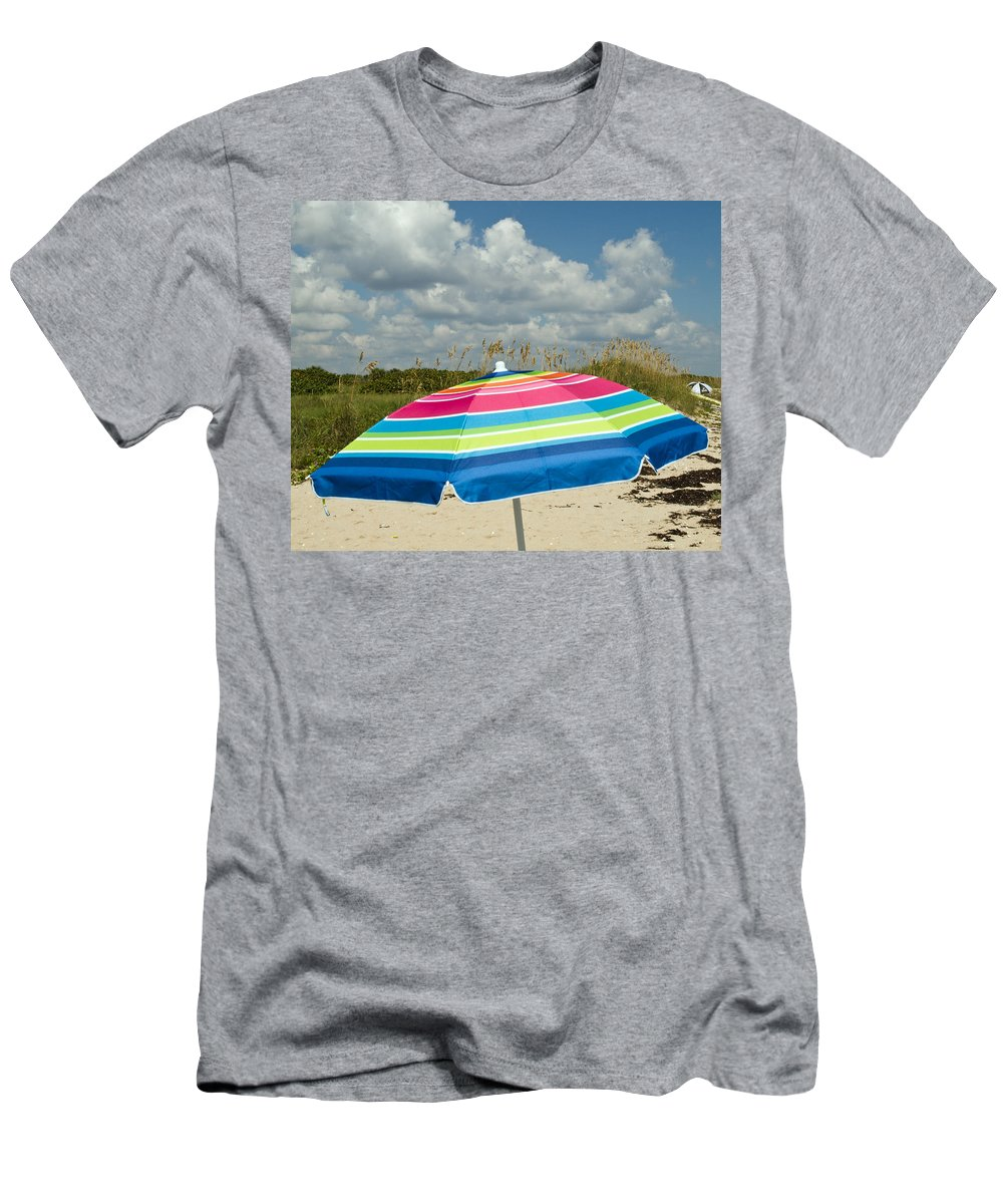Florida; Beach; Coast; Shore; Atlantic; East; Waves; Sand; Dunes; Sea; Oats; Seaoats; Plant; Grass; Men's T-Shirt (Athletic Fit) featuring the photograph Sea Oats On The Beach by Allan Hughes