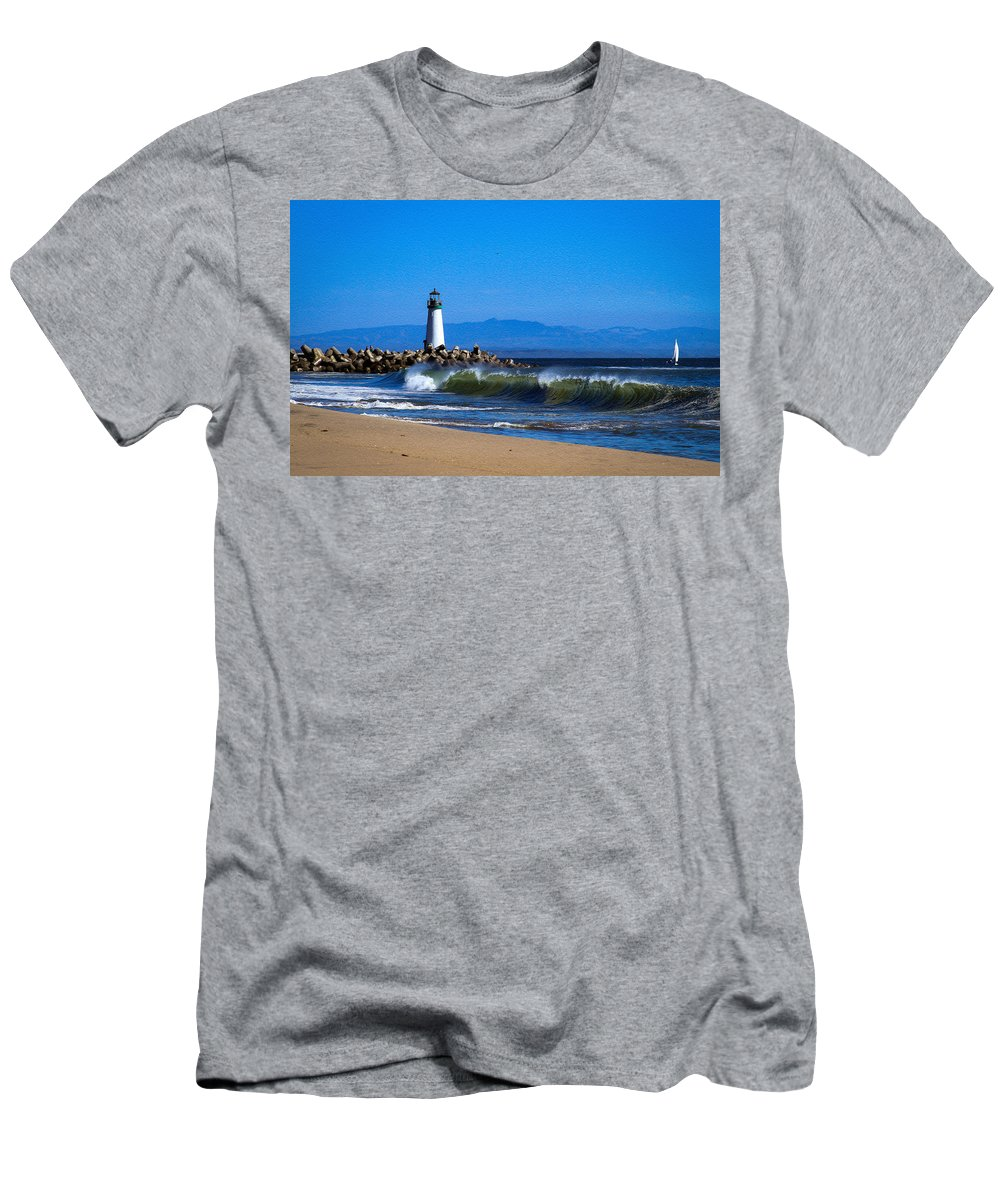Bonnie Follett Men's T-Shirt (Athletic Fit) featuring the photograph Seabright Beach Lighthouse With Surf by Bonnie Follett