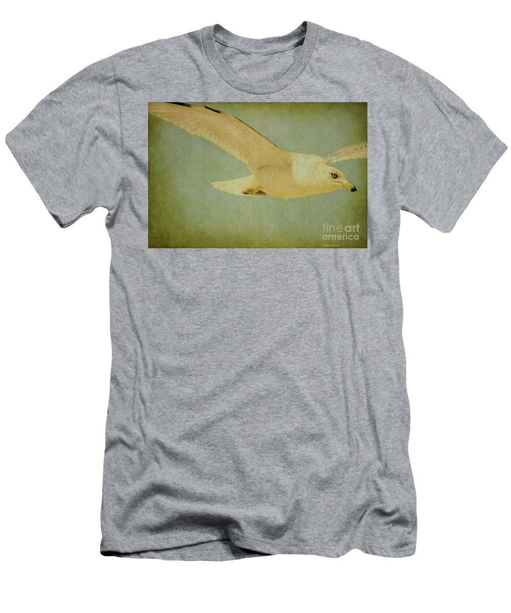 Seagull Men's T-Shirt (Athletic Fit) featuring the photograph Seagull Texture by Deborah Benoit