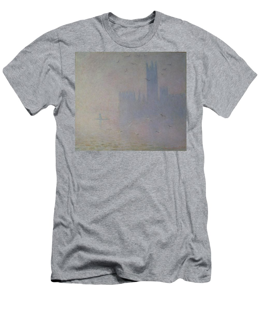 Claude Men's T-Shirt (Athletic Fit) featuring the painting Seagulls Over The Houses Of Parliament by Claude Monet