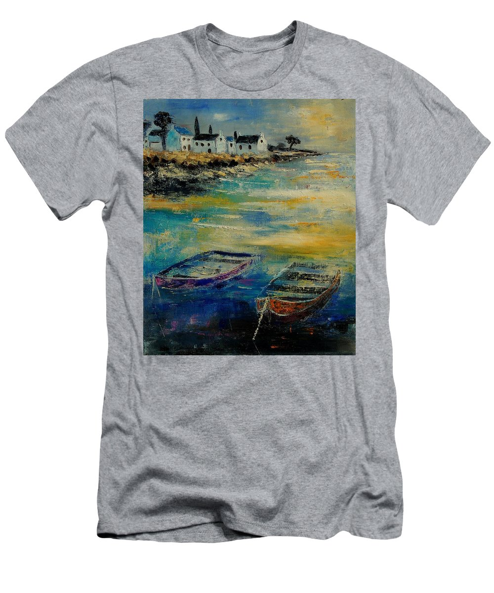 Sea Men's T-Shirt (Athletic Fit) featuring the painting Seascape 5614569 by Pol Ledent
