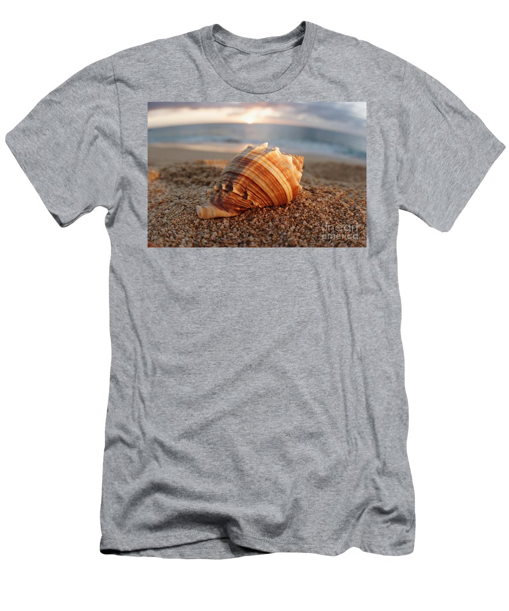 Background Men's T-Shirt (Athletic Fit) featuring the photograph Seashell In The Sand by Vince Cavataio - Printscapes