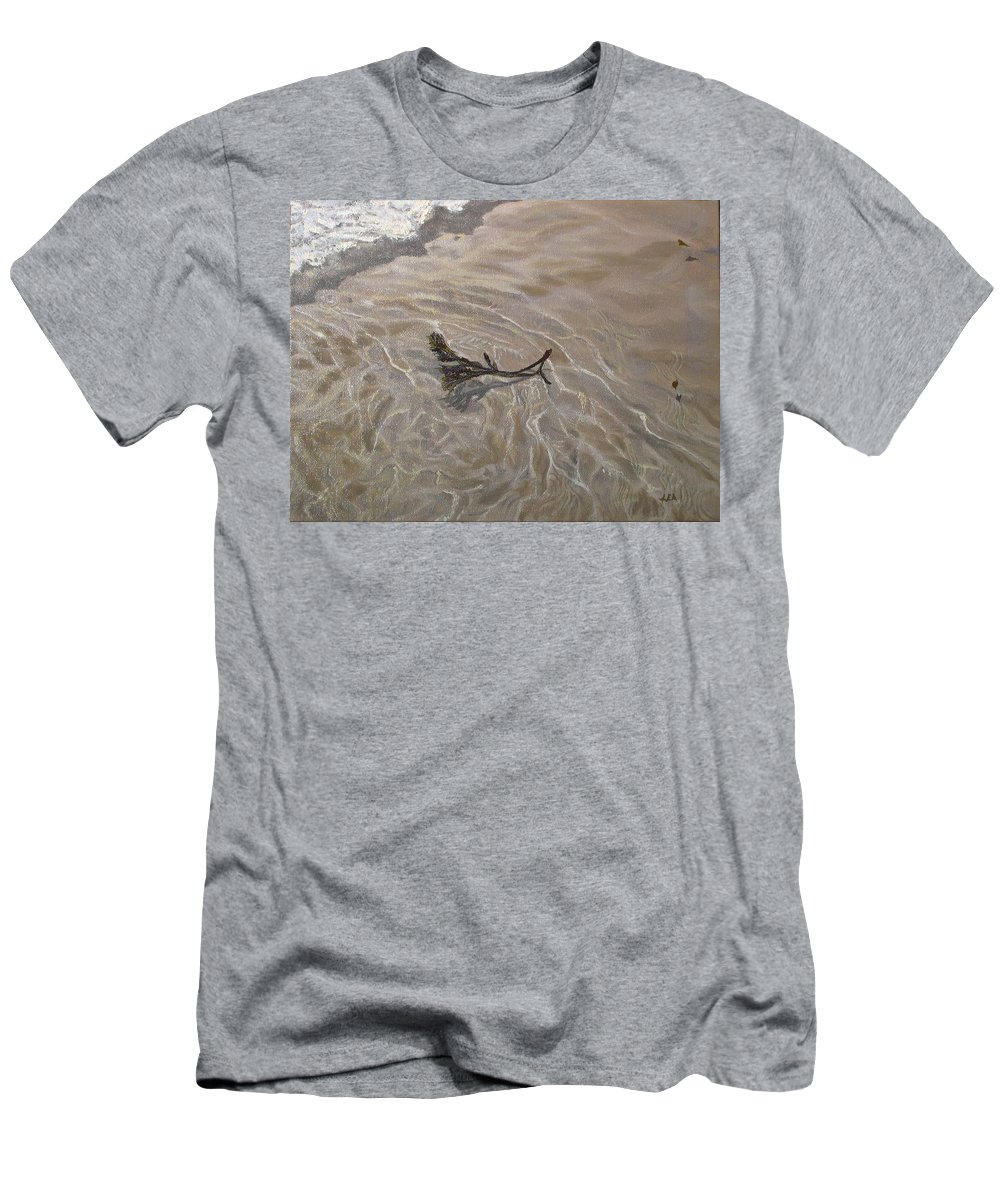 Seascape Men's T-Shirt (Athletic Fit) featuring the painting Seashore Reflections by Lea Novak