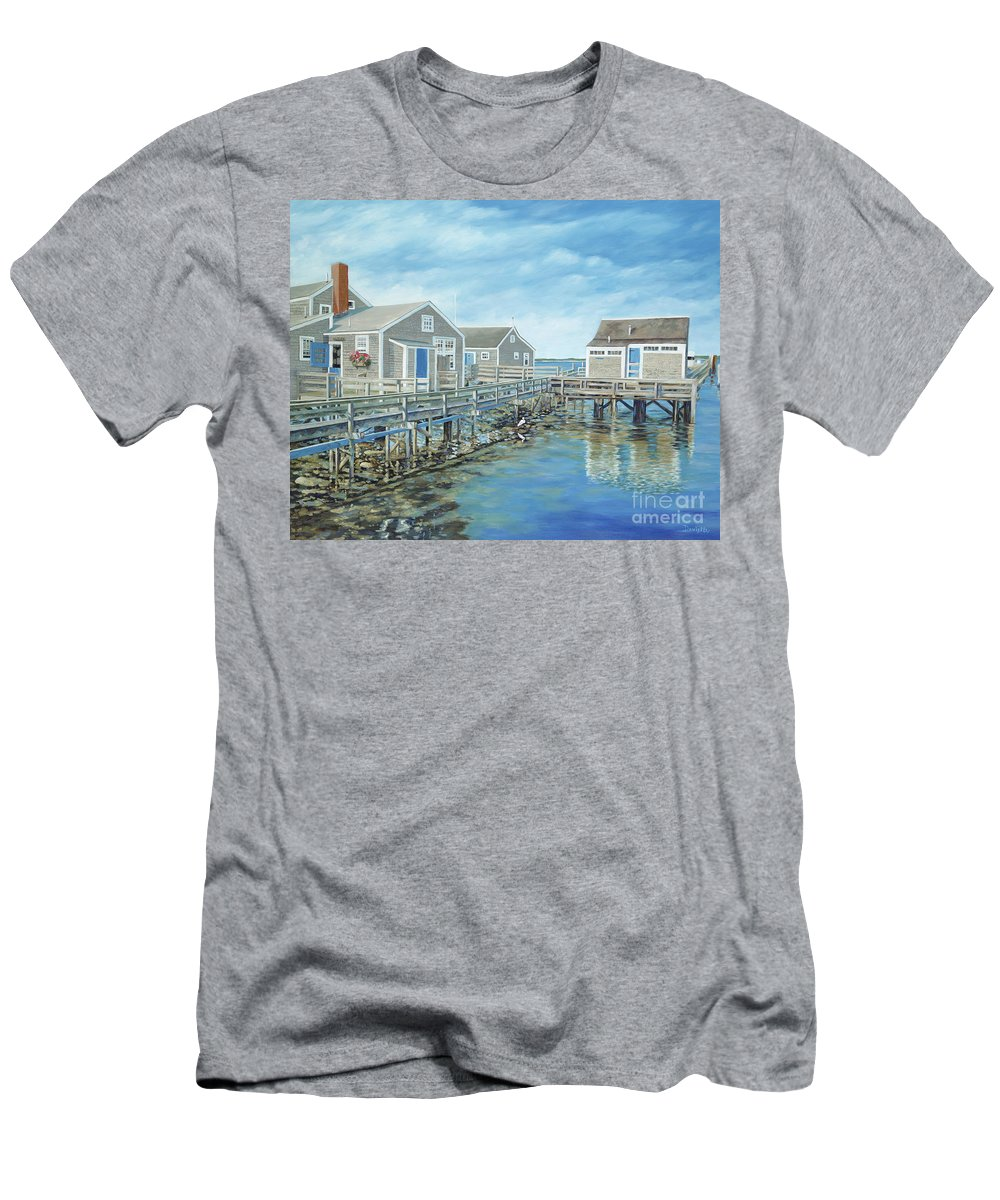 Nanutucket Men's T-Shirt (Athletic Fit) featuring the painting Seaside Cottages by Danielle Perry