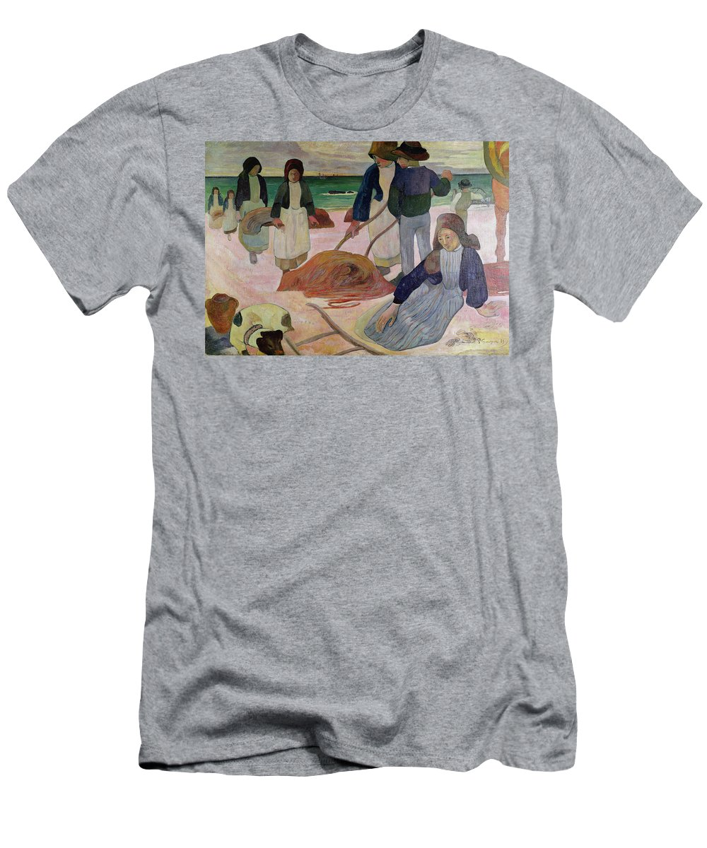 Seaweed Gatherers Men's T-Shirt (Athletic Fit) featuring the painting Seaweed Gatherers by Paul Gauguin
