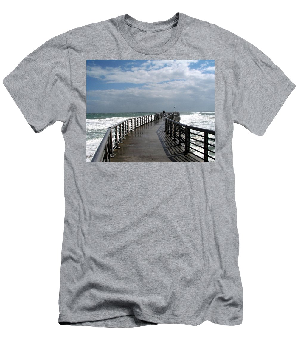 Walk; Solitary; Lonely; Sebastian; Inlet; Florida; Sea; Ocean; Water; Surf; Atlantic; Jetty; Waves; Men's T-Shirt (Athletic Fit) featuring the photograph Sebastian Inlet On The Atlantic Coast Of Florida by Allan Hughes