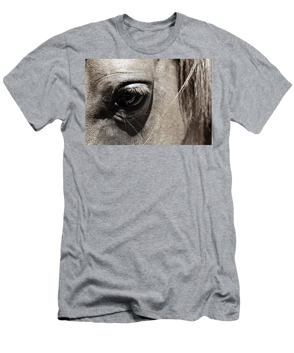 Americana Men's T-Shirt (Athletic Fit) featuring the photograph Stillness In The Eye Of A Horse by Marilyn Hunt