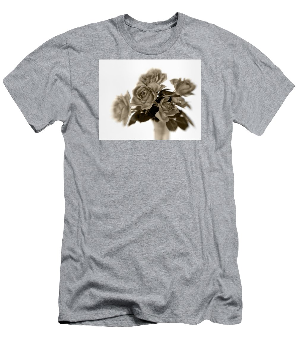 Bloom Men's T-Shirt (Athletic Fit) featuring the photograph Sepia Roses by David and Carol Kelly