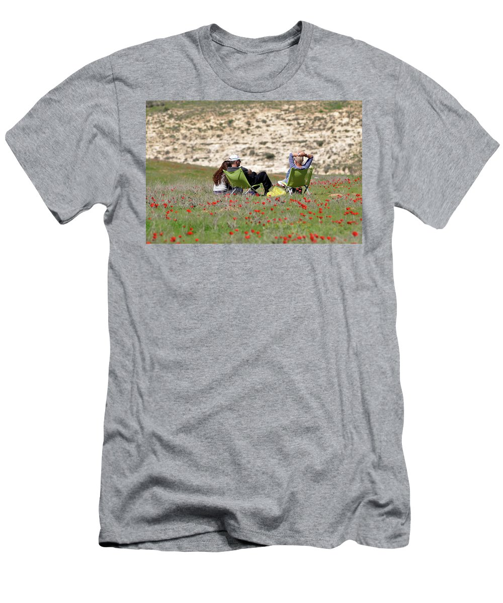 Serenity At Lachish Men's T-Shirt (Athletic Fit) featuring the photograph Serenity At Lachish by Dubi Roman