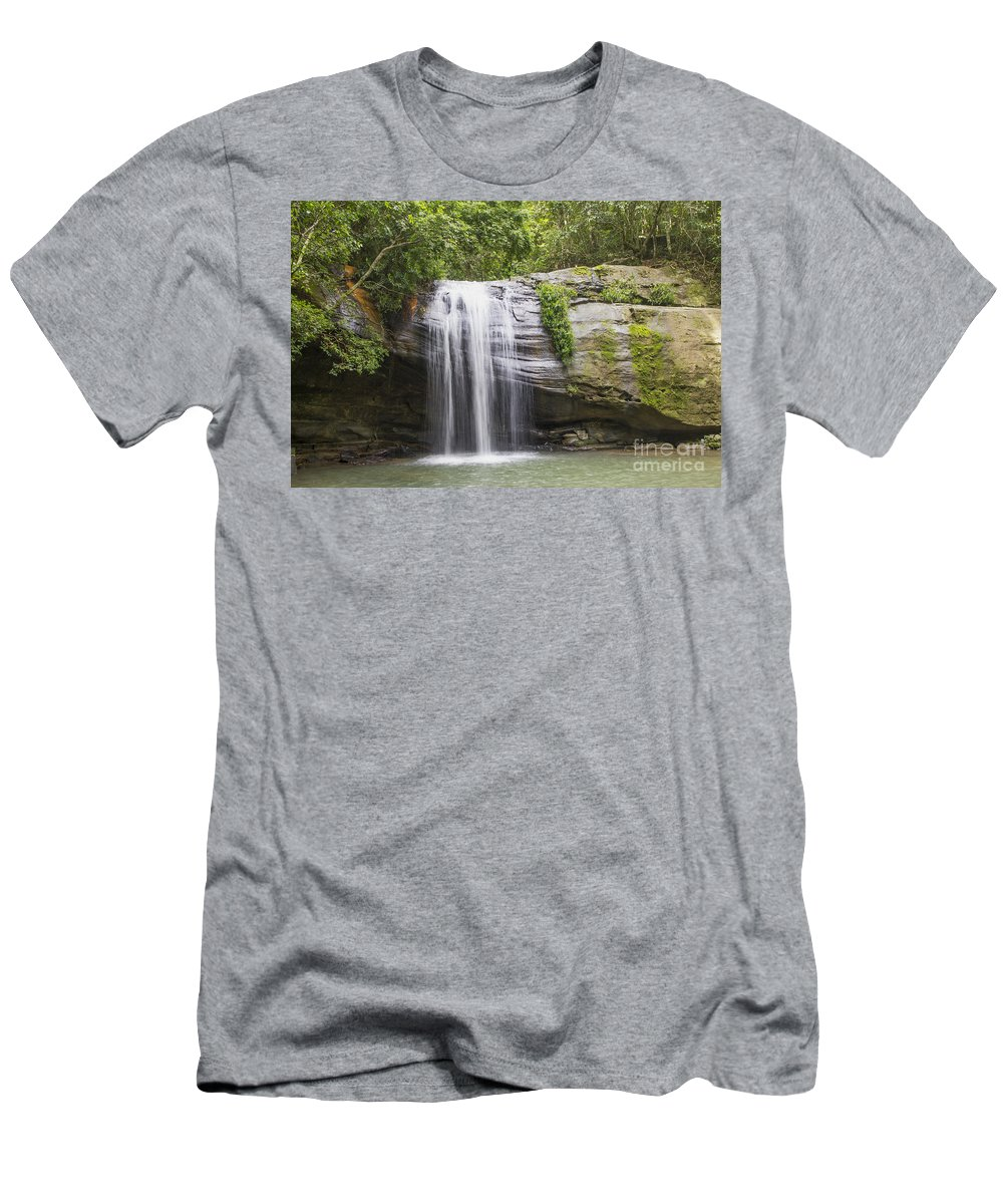 Waterfall Men's T-Shirt (Athletic Fit) featuring the photograph Serenity Falls by Carole Lloyd