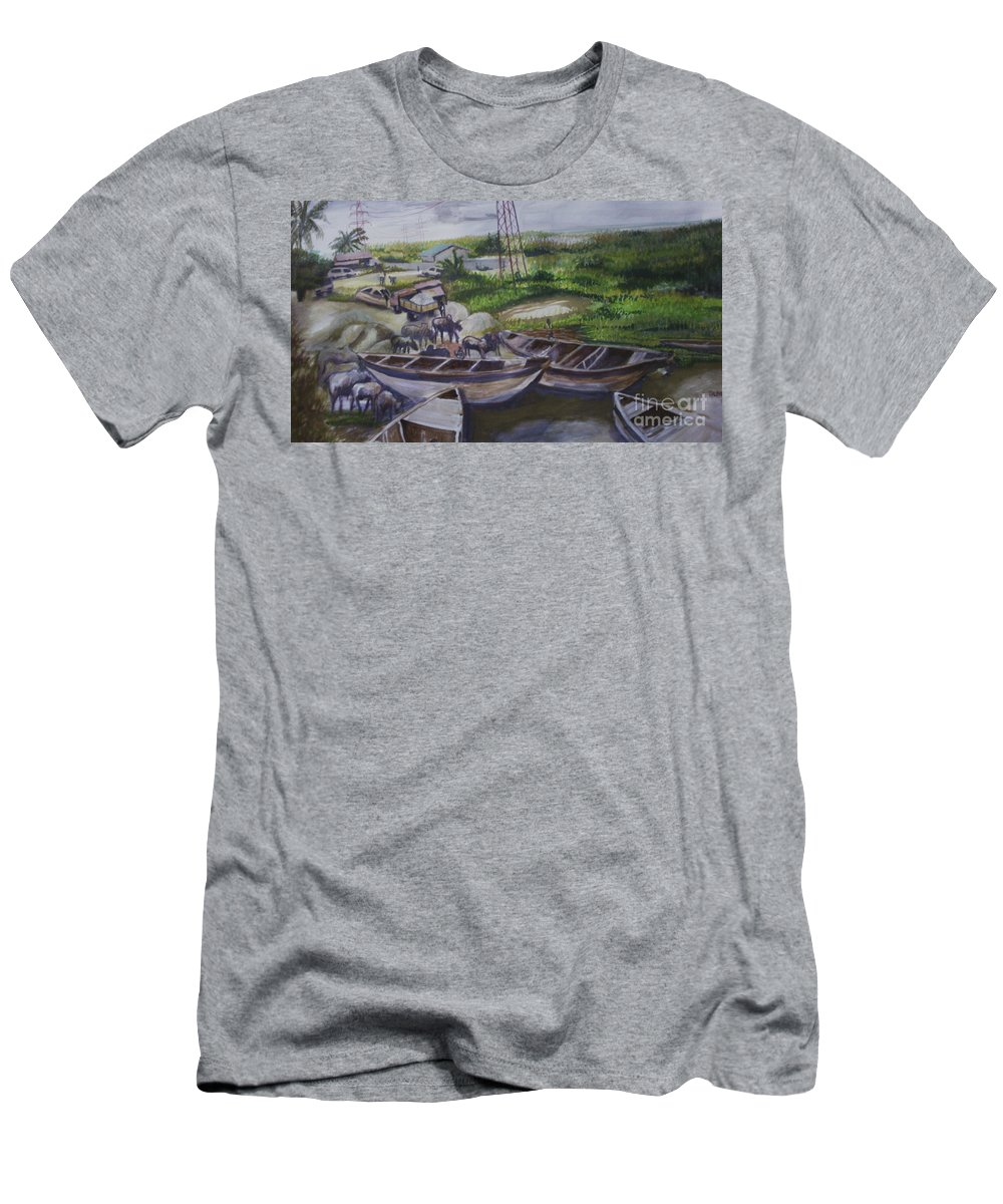 Landscape Men's T-Shirt (Athletic Fit) featuring the painting Serenity Of Waterside by OLADIMEJI Oluwagbemiga Isaac