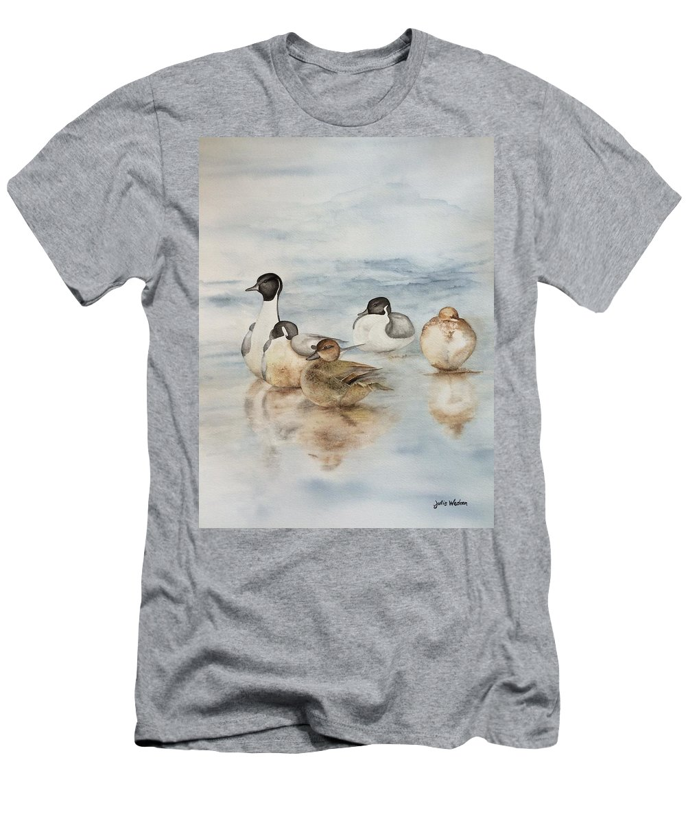 Ducks Men's T-Shirt (Athletic Fit) featuring the painting Serenity by Julie Wedean
