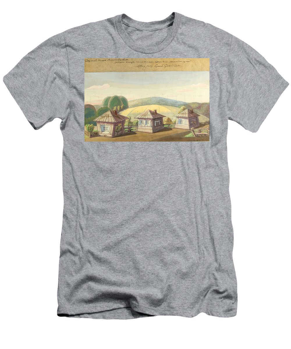 Nature Men's T-Shirt (Athletic Fit) featuring the painting Sergei Sudeikin Russian 1882-1946 Stage Design by Artistic Panda