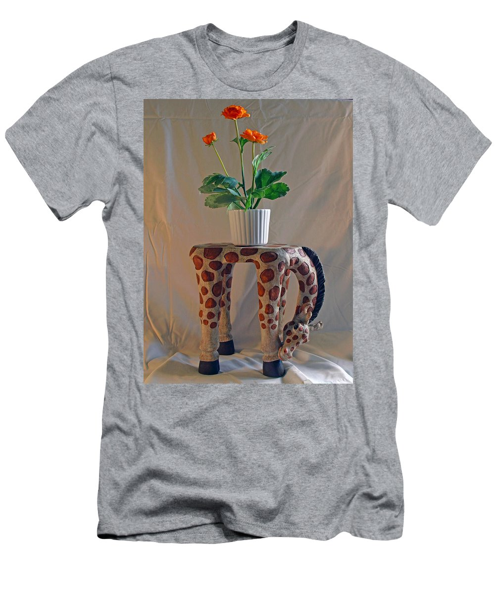 Giraffe; Burden; Flower; Pot; Orange; Artificial; Animal; Stuffed; Ceramic; Statue; Figurine; Figure Men's T-Shirt (Athletic Fit) featuring the photograph Servant Giraffe by Allan Hughes