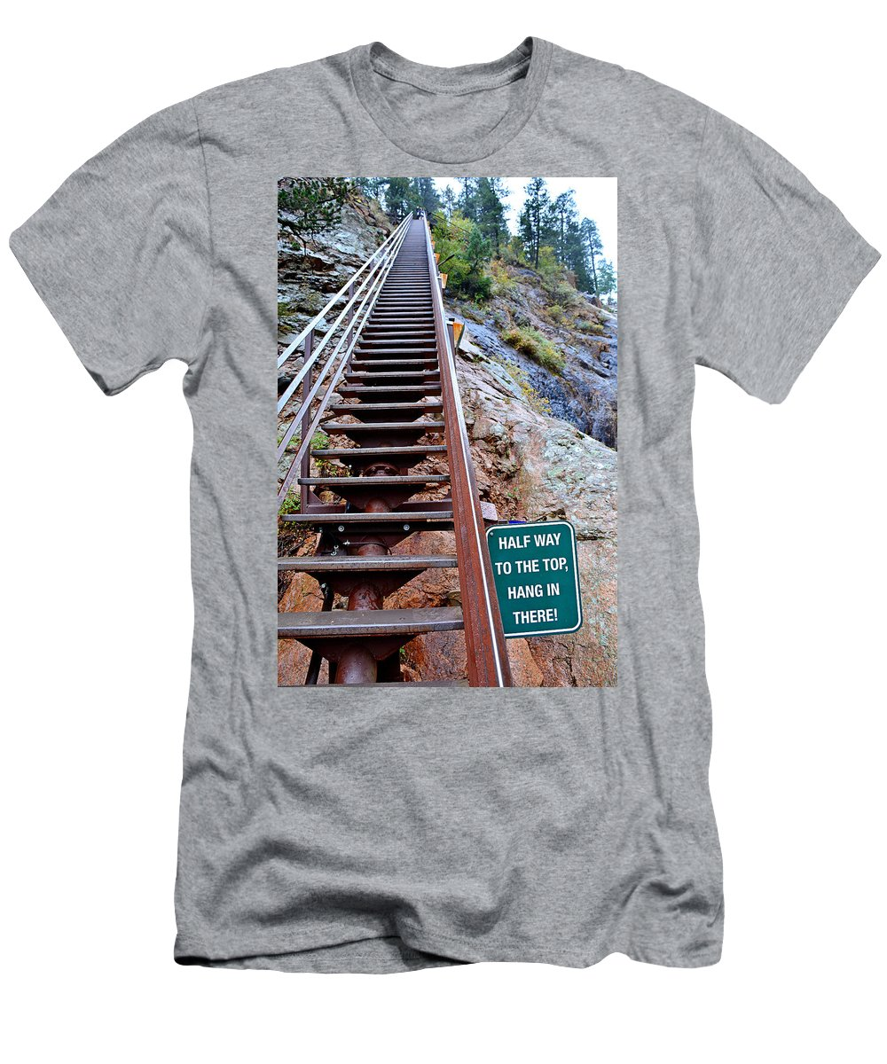 Seven Falls Men's T-Shirt (Athletic Fit) featuring the photograph Seven Falls Pastoral Study 2 by Robert Meyers-Lussier