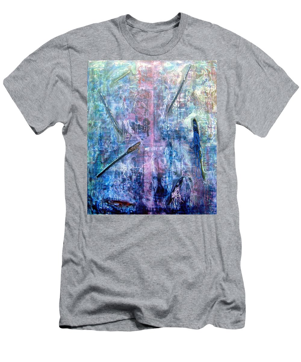 Abstract Men's T-Shirt (Athletic Fit) featuring the painting Seven Zippers by Nancy Mueller