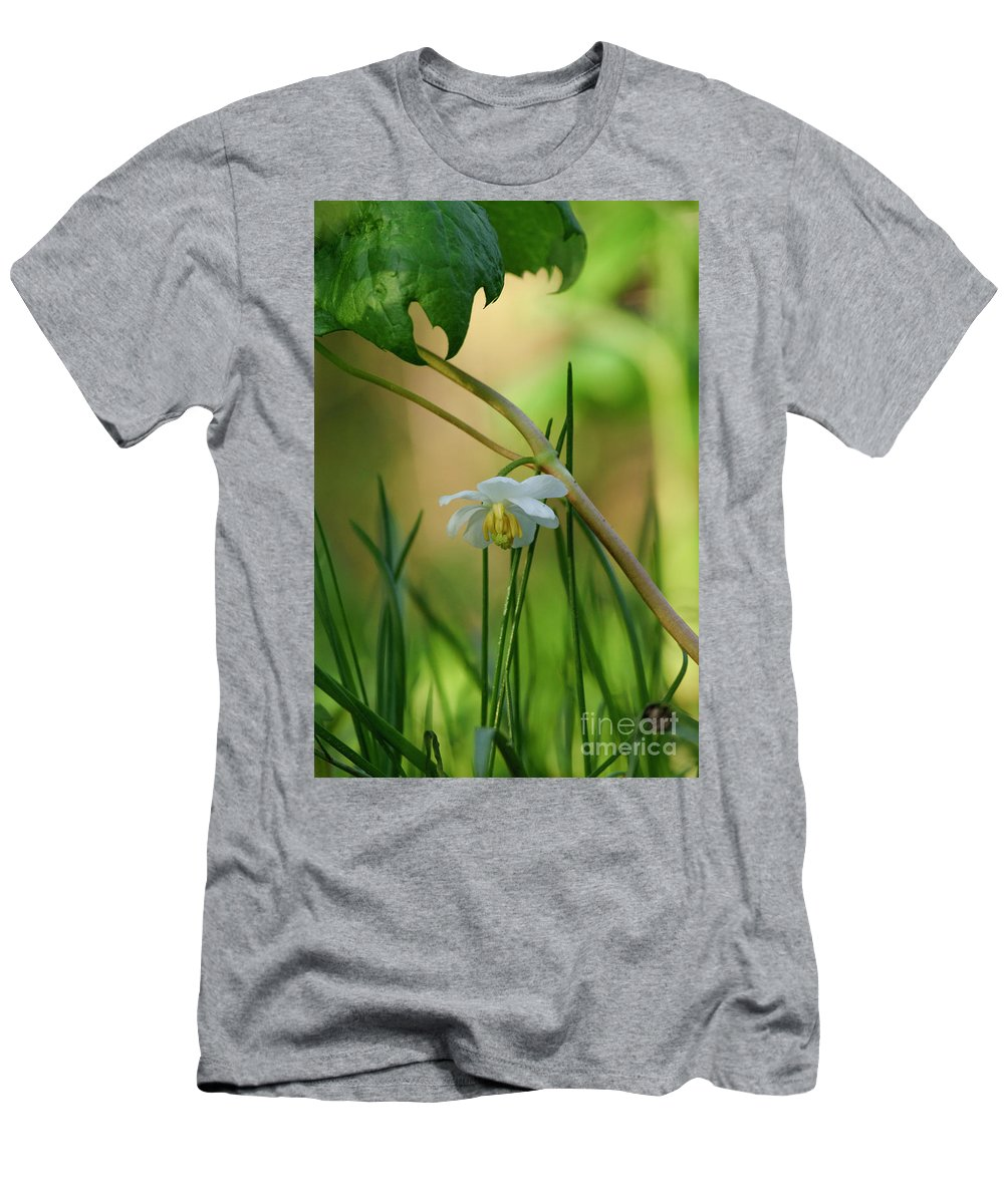 Shaded Mayapple Men's T-Shirt (Athletic Fit) featuring the photograph Shaded Mayapple by Rowena Throckmorton