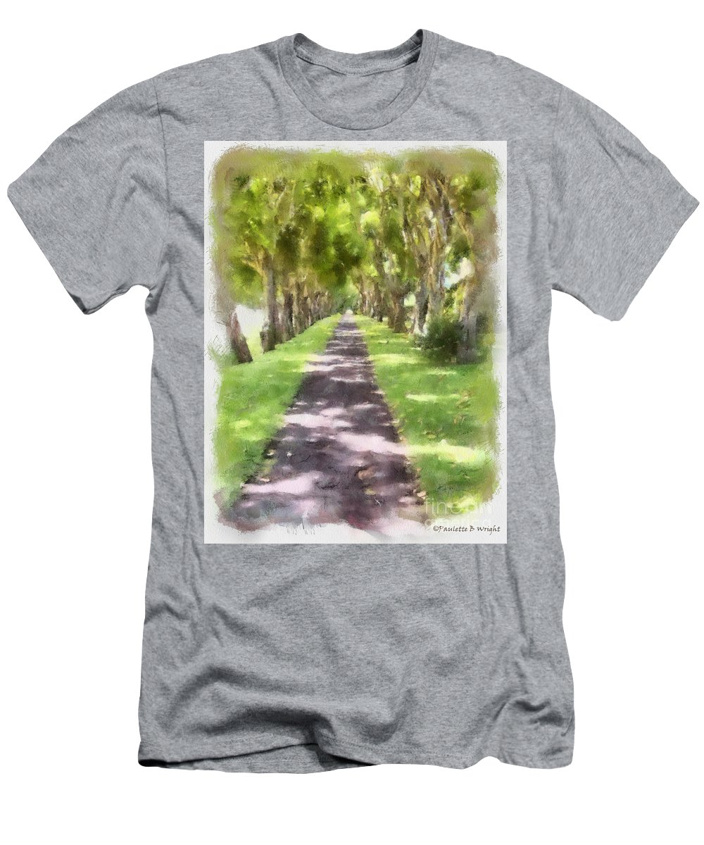 Kauai Men's T-Shirt (Athletic Fit) featuring the painting Shaded Walkway To Princeville Market by Paulette B Wright