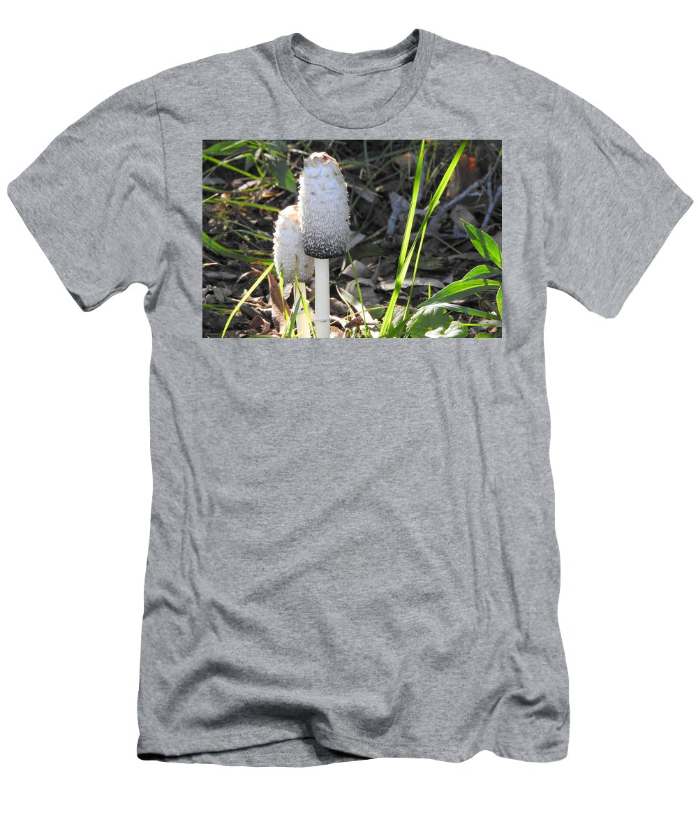 Mushrooms Men's T-Shirt (Athletic Fit) featuring the photograph Shaggy Mane by Betty-Anne McDonald