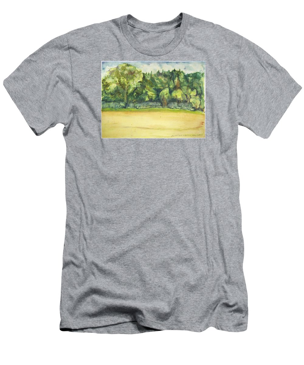 T-Shirt featuring the painting Sharpe's Wood - Trees And Field by Kathleen Barnes
