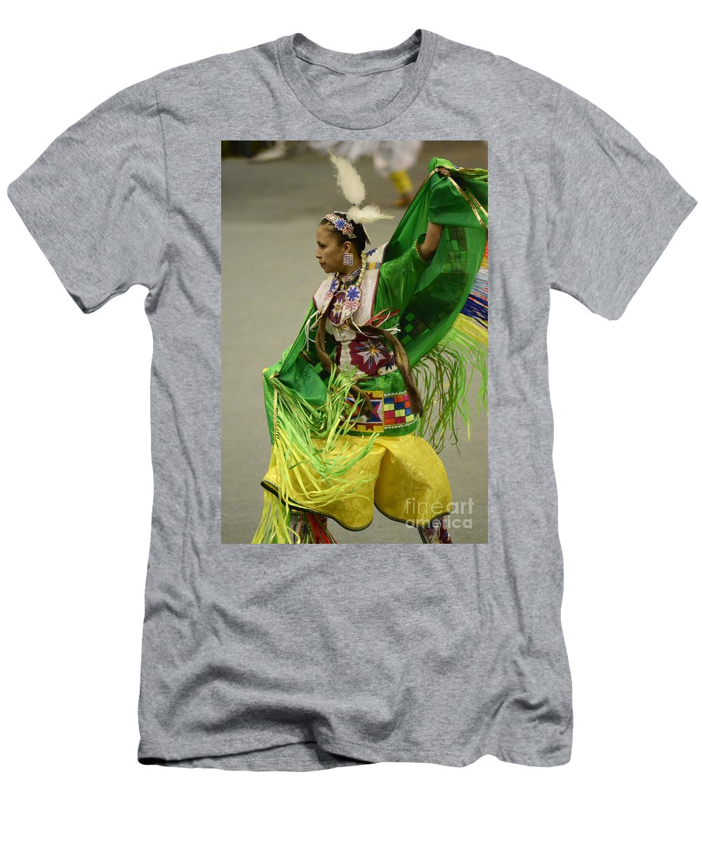 Pow Wow Men's T-Shirt (Athletic Fit) featuring the photograph Pow Wow Shawl Dancer 3 by Bob Christopher