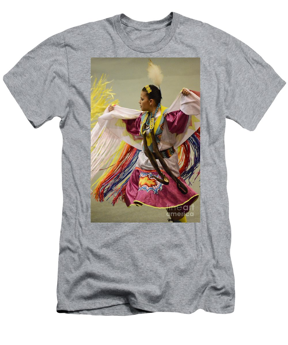 Pow Wow Men's T-Shirt (Athletic Fit) featuring the photograph Pow Wow Shawl Dancer 4 by Bob Christopher
