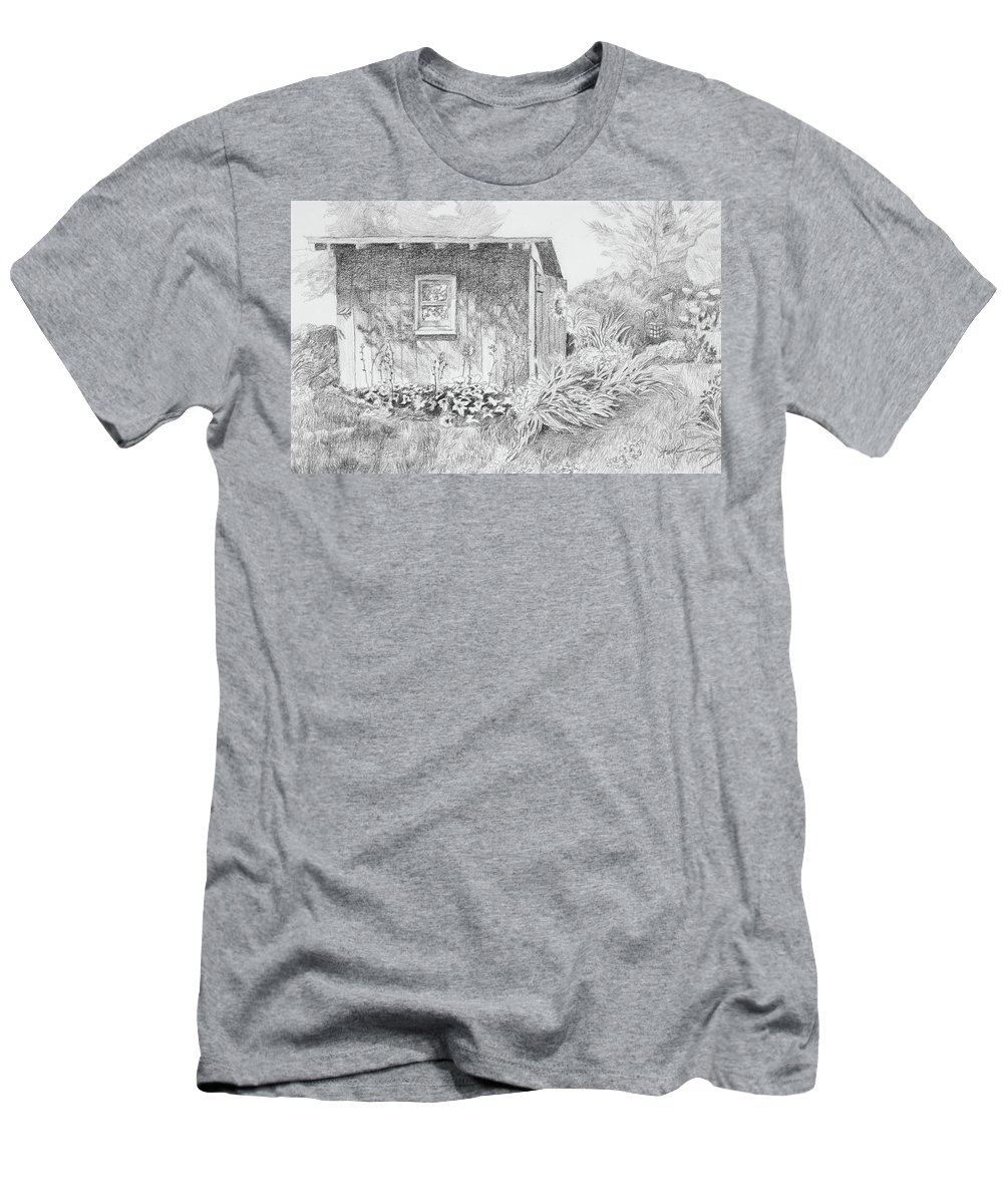 Pencil Drawing Shed Garden Men's T-Shirt (Athletic Fit) featuring the drawing Shed In My Mothers Back Yard by Jean Stark