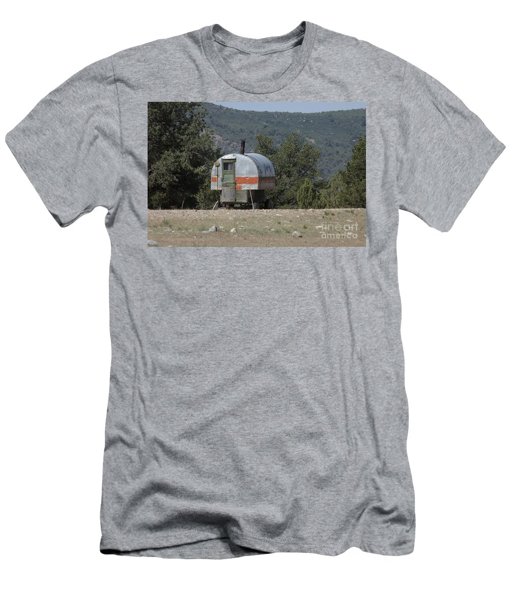 Sheep Men's T-Shirt (Athletic Fit) featuring the photograph Sheep Herder's Wagon by Jerry McElroy