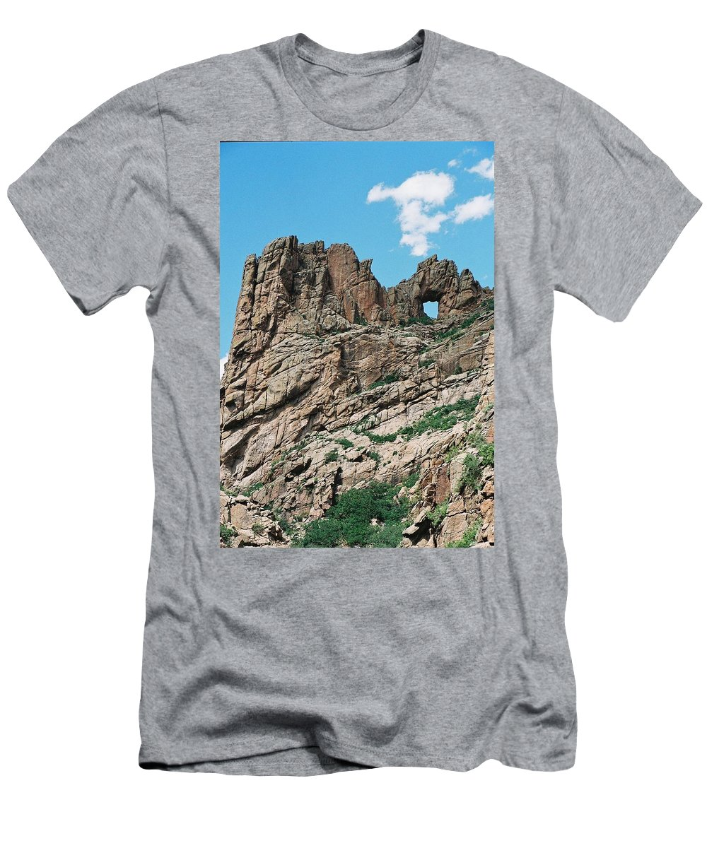 Shelf Road Men's T-Shirt (Athletic Fit) featuring the photograph Shelf Road Rock Formations by Anita Burgermeister