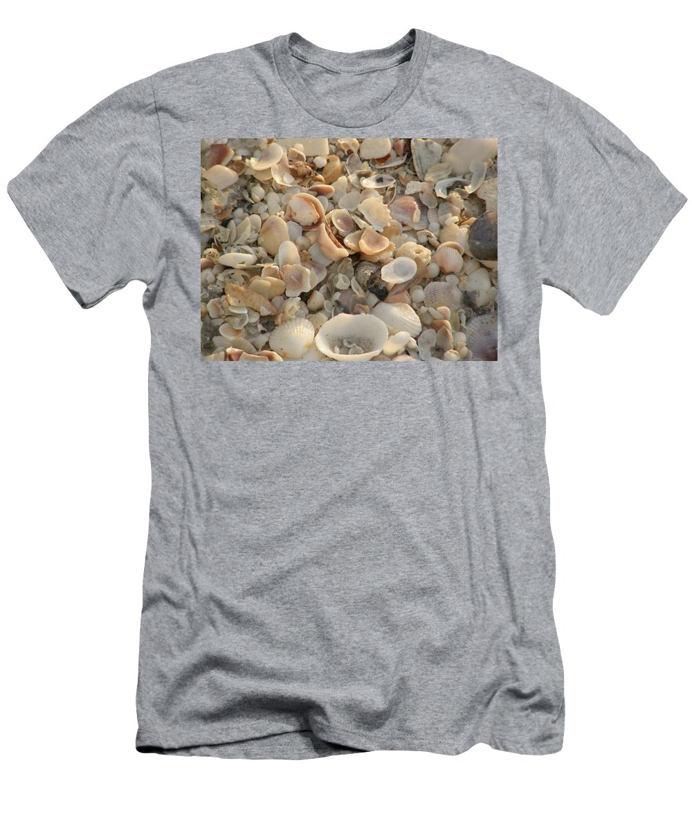 Beach Men's T-Shirt (Athletic Fit) featuring the photograph Shells On Beach by Alice Markham