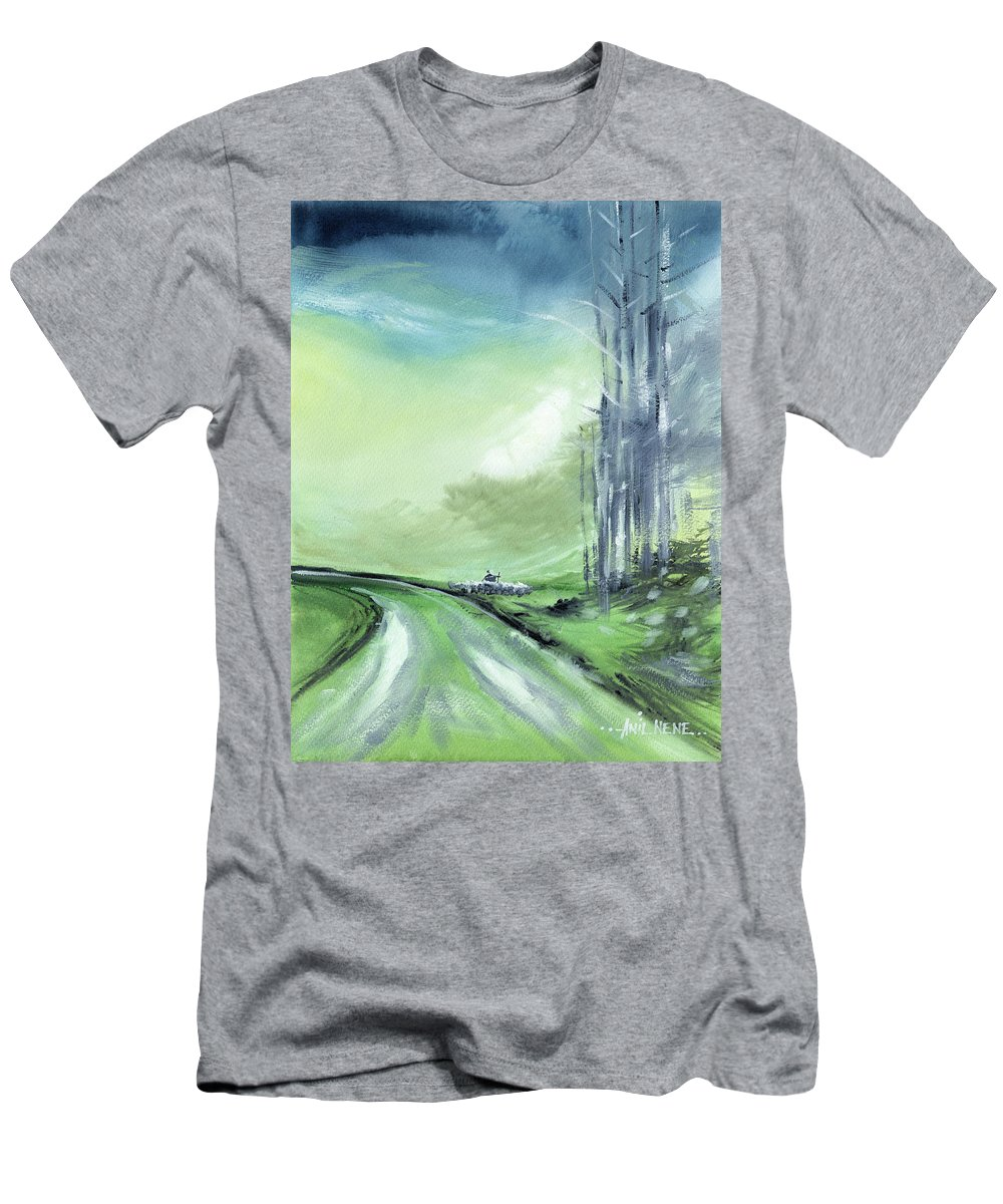 Nature T-Shirt featuring the painting Shepherd 2 by Anil Nene